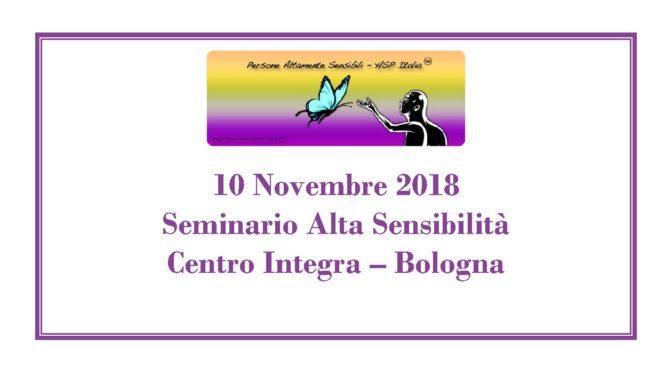 10 Novembre – Seminario di base sull'Alta Sensibilità a Bologna