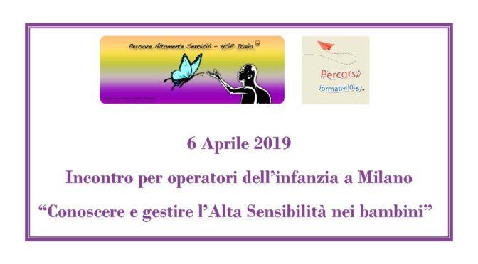 6 aprile 2019 – Incontro per operatori dell'infanzia a Milano