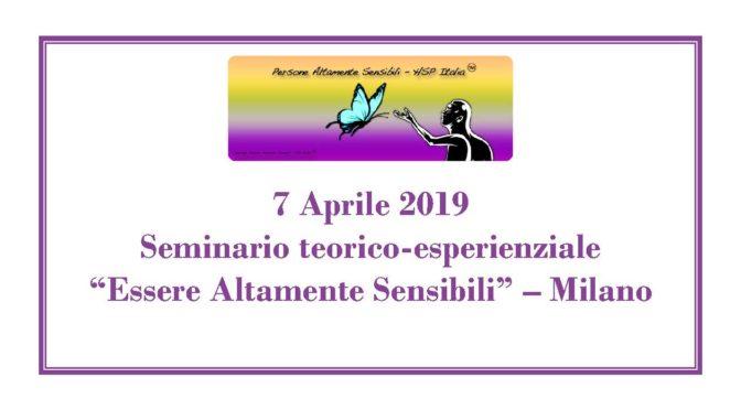 7 aprile 2019 – Seminario teorico-esperienziale a Milano