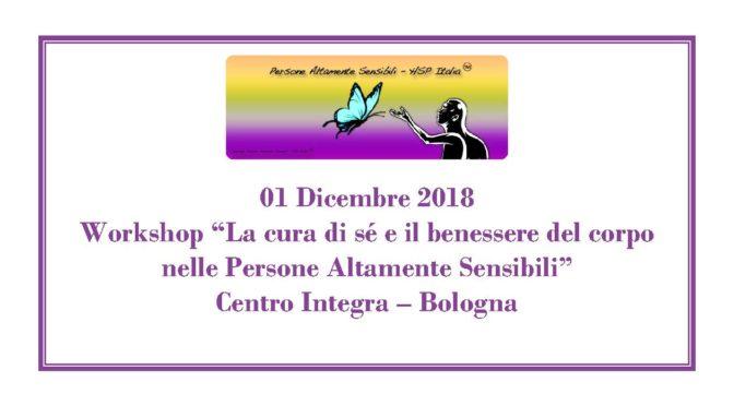 """01 Dicembre – Workshop """"La cura di sé e il benessere del corpo nelle PAS"""" a Bologna"""